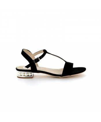 Sandales noires perles blanches COSETTE