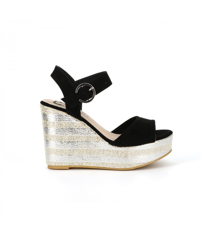 Cassis Côte D'azur Sandale plateforme ATALYS Noir - Chaussures Sandale Femme