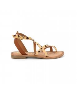 Sandale cuir GAMBETTA léopard