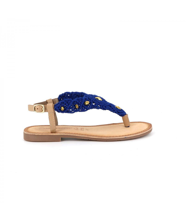Ilario Ferucci Sandale cuir GAMILIA Bleu - Chaussures Sandale Femme