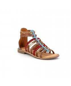 Sandale montante cuir GAULE bleue