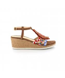 Sandale compensée GLEE camel