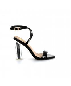 Sandale talon transparent CREMA noire
