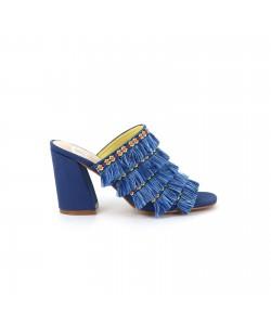 Mule frangée LEILA bleue