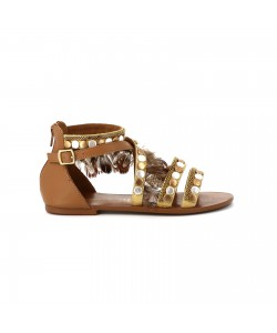 Sandale montante cuir PHALENE marron