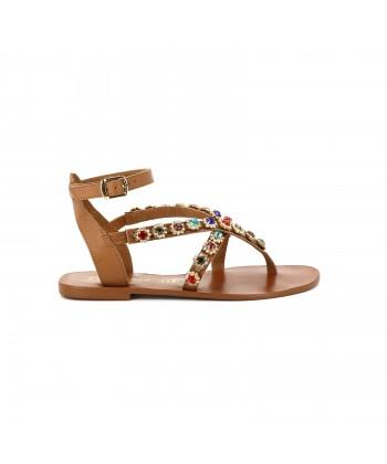 Sandale strass PRECIEUSE marron