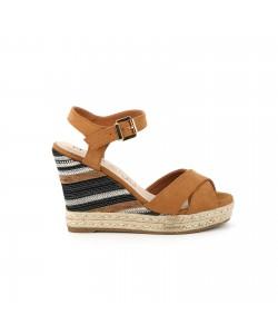 Sandale compensée ABOU camel