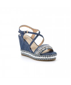 Sandale compensée YANNATEL bleu