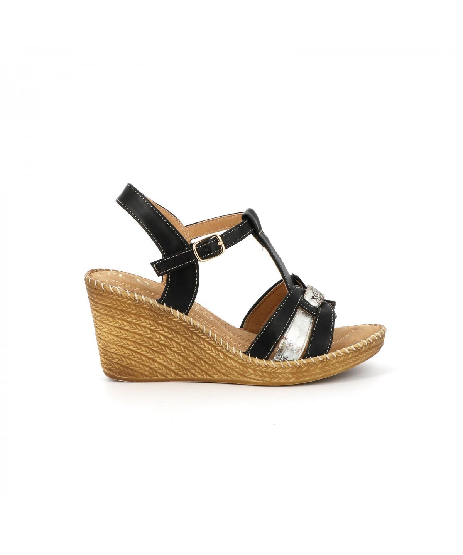 Playa Collection Sandale compensée FARINY Noir - Chaussures Sandale Femme