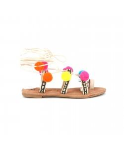 Sandale pompon LILAS blanc