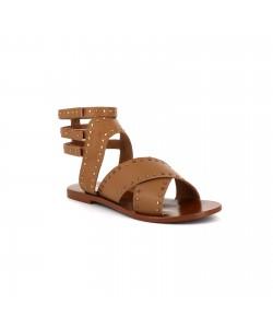 Sandale plate clous en cuir NELLA