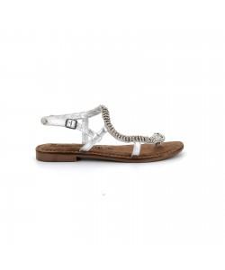Sandale plate serpent en cuir NIDA