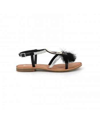 Sandale avec pompom en cuir OISILA